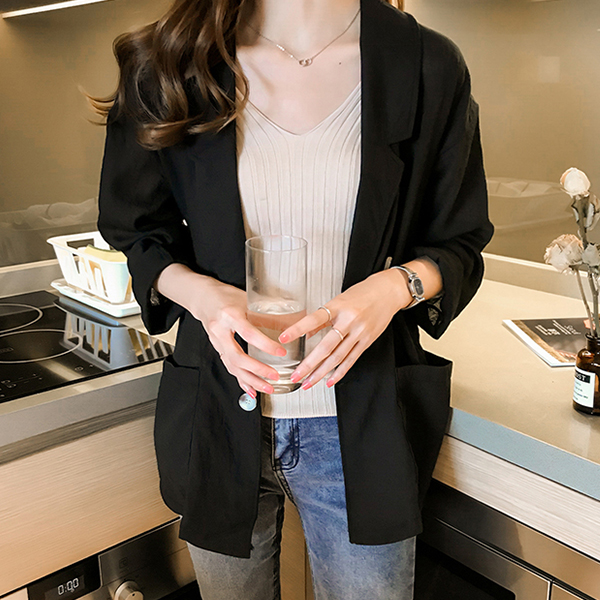 Solid Suit Neck Full Sleeves Casual Coat - Black