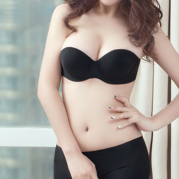 Backless Pushup Silicon Bra - Black
