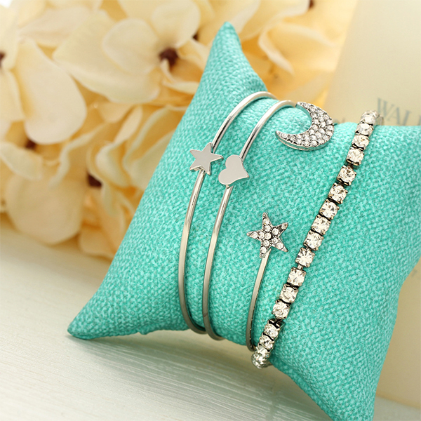 Four Pieces Silver Plated Party Wear Bracelets