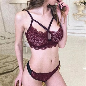 Stocking Lace Nightwear Two Piece Lingerie - Burgundy