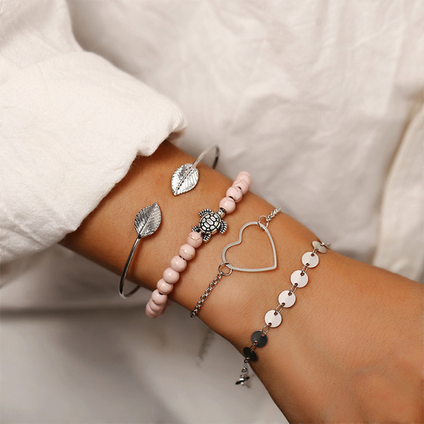 Turtle Hollow Heart Leaf Chain Multi-layer Bracelet - Silver