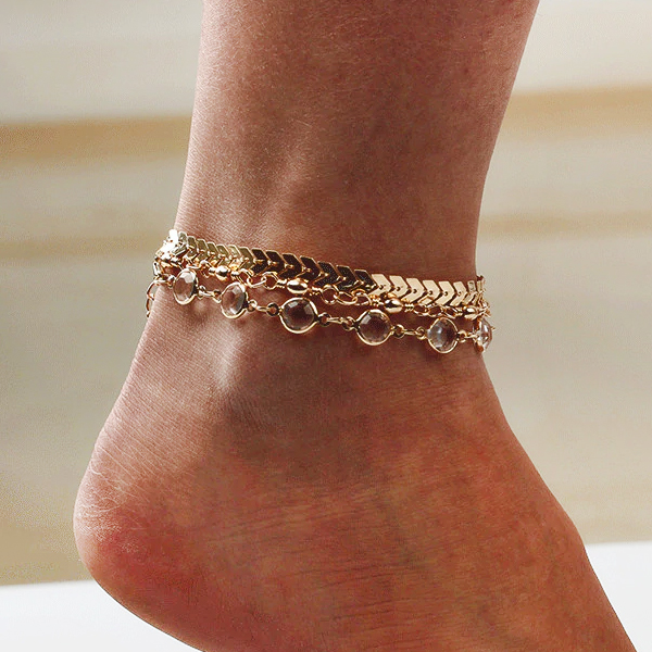 Crystal Vintage Gold Plated Chain Anklet