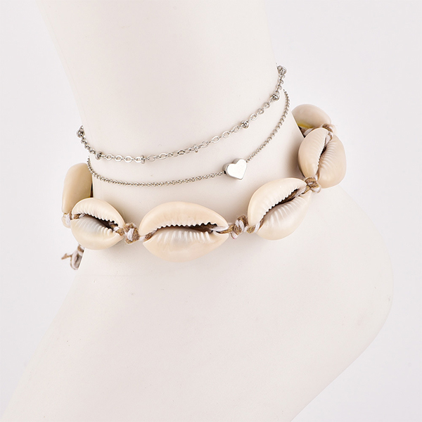 Shell Triple Layered Chain Anklet Set