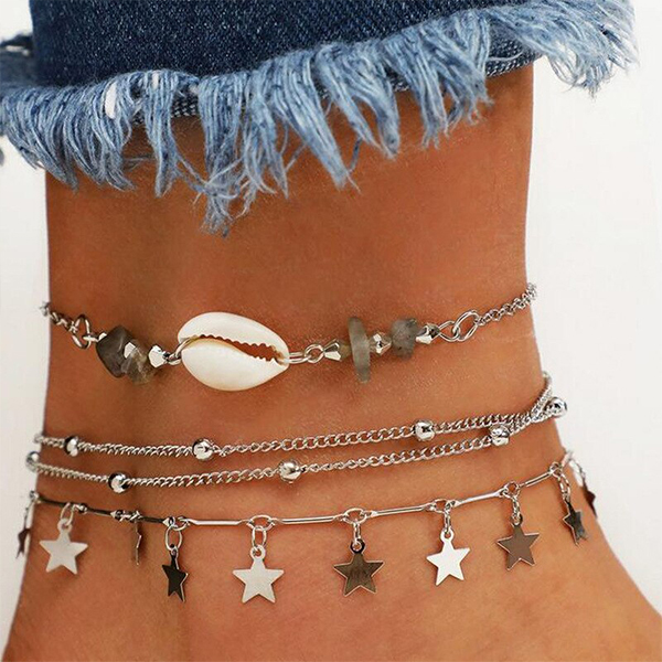 Chain Beach Wear Casual Silver Plated Anklet