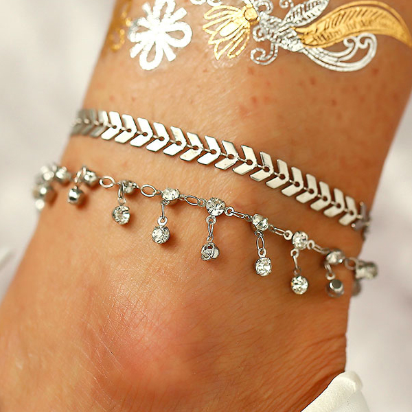 Crystal Silver Plated Party Wear Anklet
