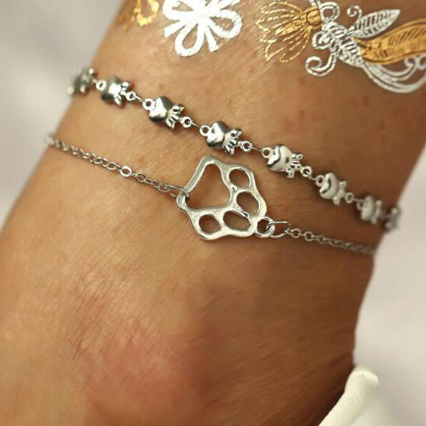 Dog Feet Silver Plated Chain Anklet