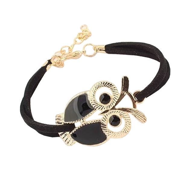 Cute Retro Owl Black Leather Bracelet For Women