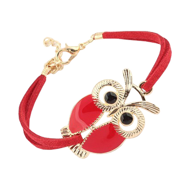Cute Retro Owl Red Leather Bracelet For Women