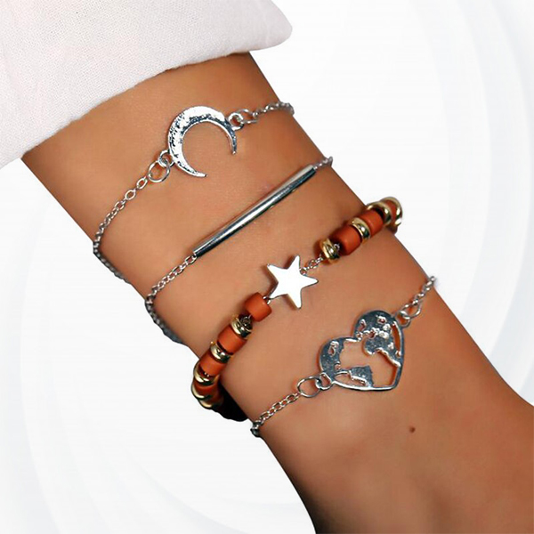 Exquisite Chain Heart Map Moon Stars Beads Bracelet - Silver