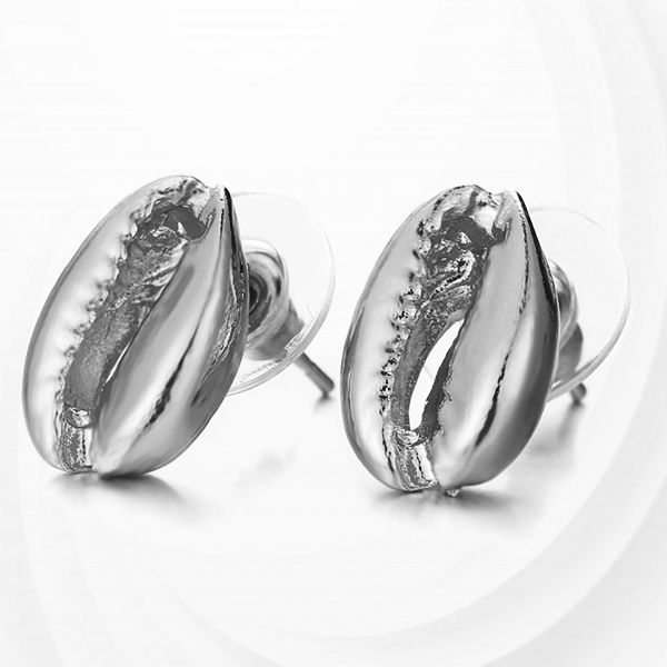 Sea Shell Shaped Silver Plated Ear Tops