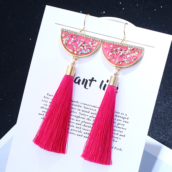 Shell Shaped Rhinestone Hot Pink Tassel Earrings