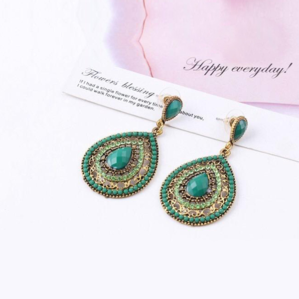 Water Drop Crystal Decorated Earrings For Women Green