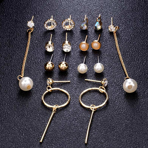 Eight Pairs Multi Occasion Crystal Ear Tops Set