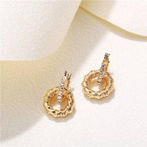 Carved Designers Wear Gold Plated Earrings Pair