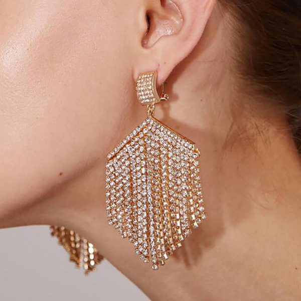 Tassel Party Wear Crystal Earrings Pair - Silver