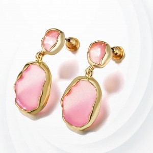 Engraved Stone Gold Plated Party Wear Earrings Pair - Pink