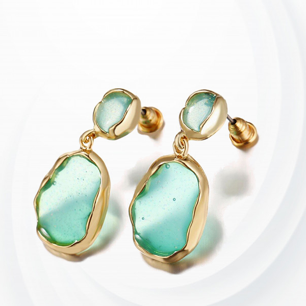 Engraved Stone Gold Plated Party Wear Earrings Pair - Green