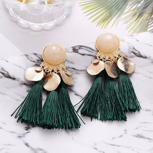 Pearl Decorative Tassel Earrings - Green