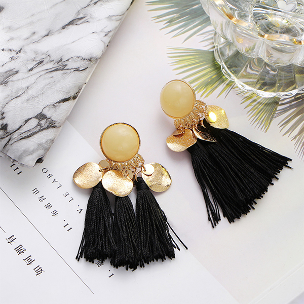Pearl Decorative Tassel Earrings - Black