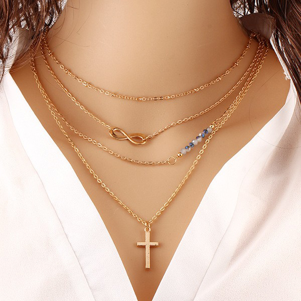 Multilayer Cross Pendant With Designed Beads For Women