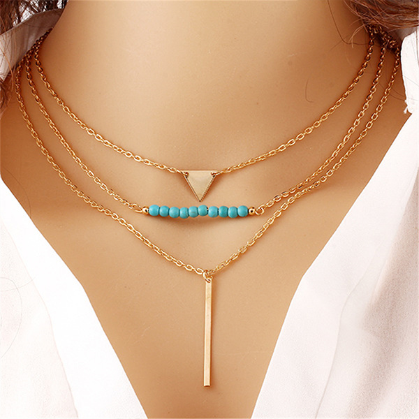 Gold Plated Women Triangle Pendant With Beads And Bar