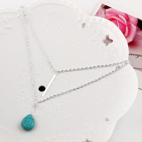 Silver Plated Bar And Blue Rhinestone Pendant For Women