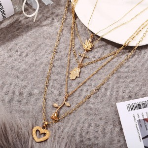 Multi Layered Gold Plated Religious Necklace Pendant