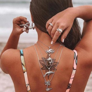 Backless Romantic Casual Wear Multi Layered Necklace