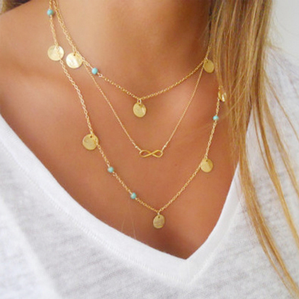 Gold Plated Three Layers Coins Necklace