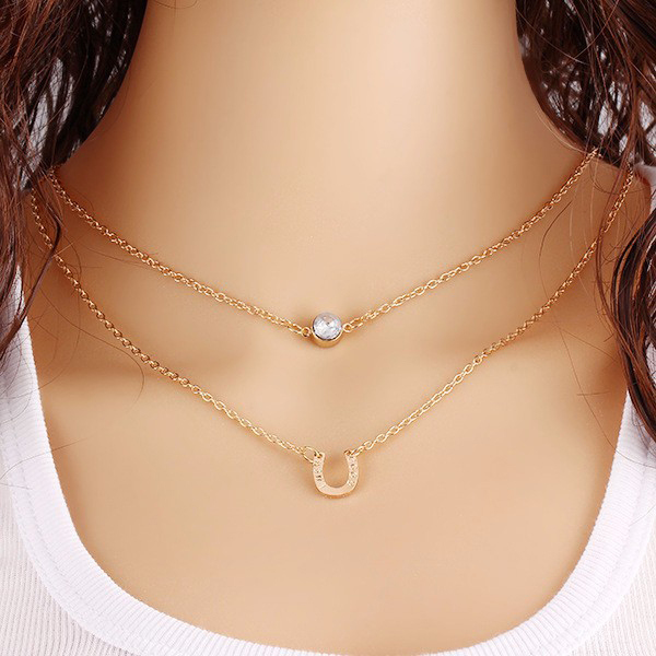Gold Plated Crystal Double Layered Necklace For Women