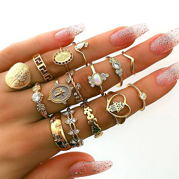 Fifteen Pieces Crystal Gold Plated Rings Set