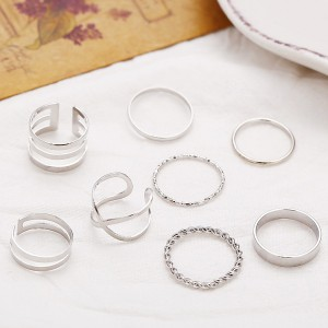 Eight Pieces Silver Plated Casual Rings Set