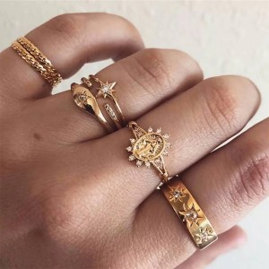 Seven Pieces Gold Plated Wedding Carved Women Rings Set