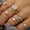 Eight Pieces Multi Designs Golden Rings Set
