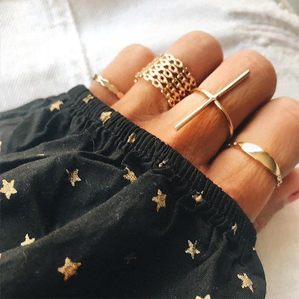 Carved Gold Plated Seven Pieces Rings Set