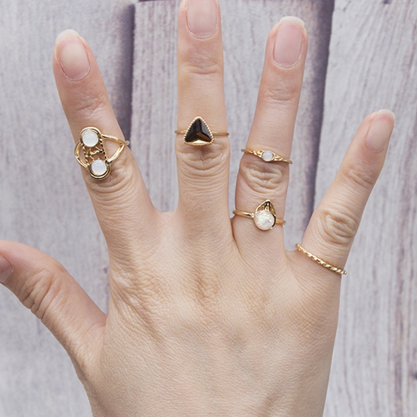 Gold Plated Five Pieces Rhinestone Rings Set