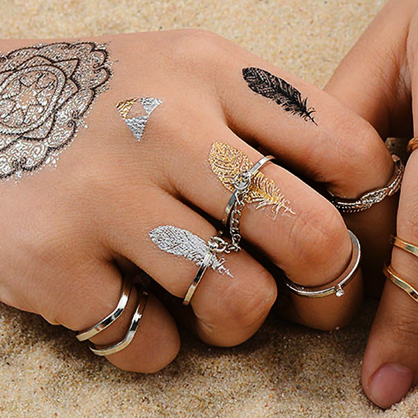 Silver Plated Fives Pieces Elegant Rings Set