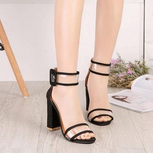 High Heels Strapped Up Buckle Sandals - Black