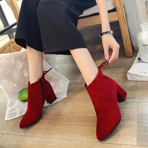 Zipper Double Buckle Laced Boot Shoes - Red