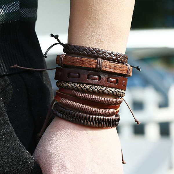 Six Pieces Bohemian Leather Bracelets Set