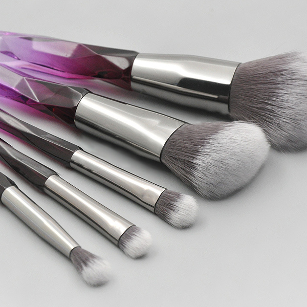 Luxury Gradient Five Pieces Makeup Brushes Set - Grey