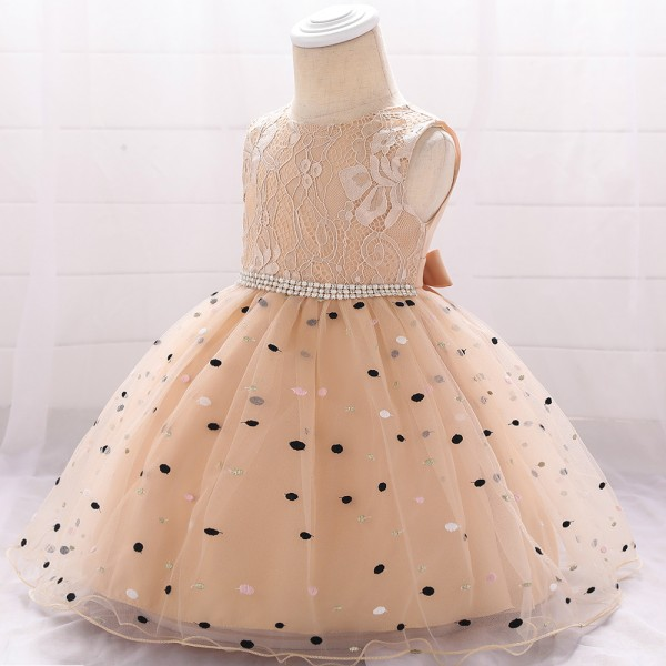 Kids Wear Floral Printed Wedding Party Dress - Champagne