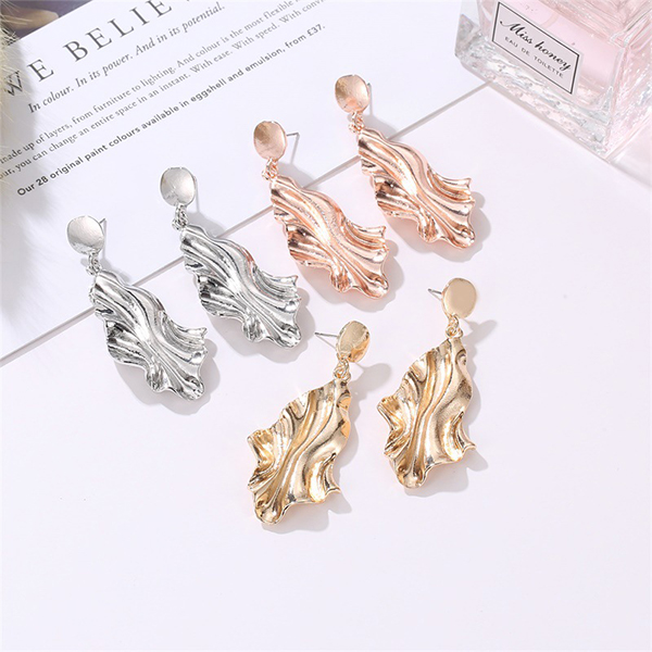 Flared Gold Plated Party Wear Earrings - Silver