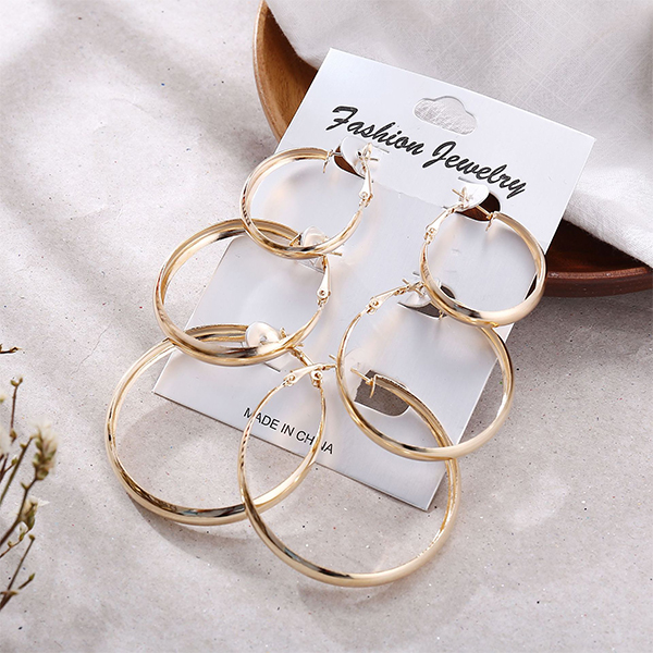 Three Pieces Spiral Multi Size Earrings Pair - Golden