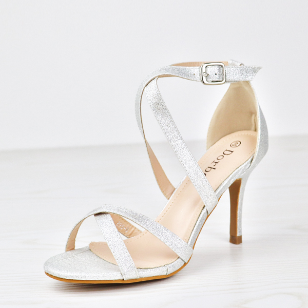 Glitter Party Wear Dorbe Stick Heel Sandals - Silver