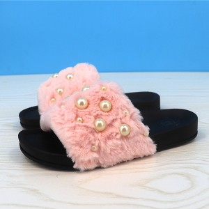 Fluffy Pearl Decorated Flat Wear Casual Sandals - Pink