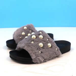 Fluffy Pearl Decorated Flat Wear Casual Sandals - Grey