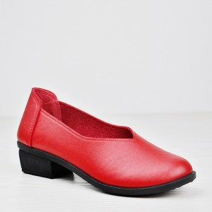 Thick Bottom Formal Wear Plain Shoes - Red
