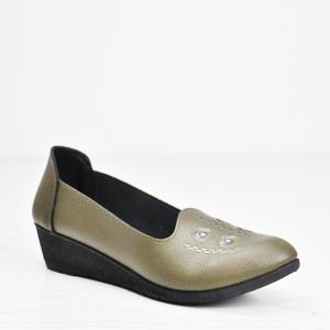 Thick Bottom Thread Art Synthetic Leather Shoes - Green