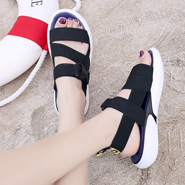 Soft Bottom Buckle Sports Casual Sandals - Black